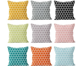 45 colors Honeycomb Pillow Cover, Black Pink Gray Blue Orange Yellow Teal Mauve Honeycomb Pillow Cover, Geometric Hexagon Cushion Cover