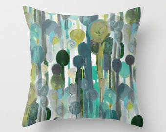 Throw Pillow Cover, Teal Green Aqua White Grey, Home Decor, Cushion Cover, Couch Pillow Cover