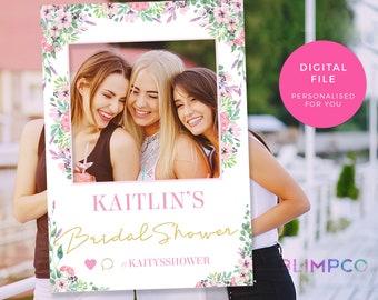 Floral social media frame PRINTABLE, Watercolor Bridal shower photo booth props, Bachelorette party photo frame Photo booth frame prop hens