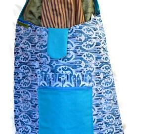 The Big Shoulder Bag- Blue and white designs