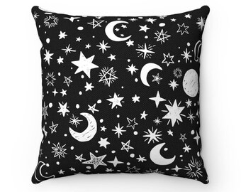 Stars & Moons Pillow Cases | Cute Throw Pillow Covers | Accent Pillows | Decorative Pillows | Black and White Nursery Decor