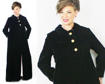 Velvet Coat / 60s Coat / 1960s Coat / Full Length Coat / Opera Coat / Black Velvet Coat / Formal Coat / Size 4 6 / Bust 38 Waist