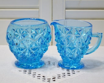 Vintage Turquoise Blue Glass Sugar Bowl Creamer Set Diamond Pattern Pressed Glass Coffee Tea Accessory PanchosPorch