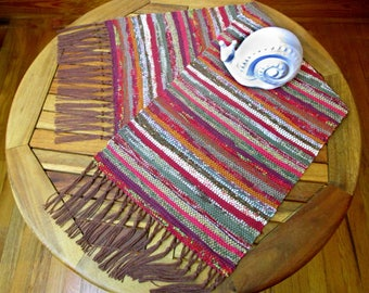 """Handwoven Table Runner, Appalachian Autumn Colors, Cloth Strip Runner in Rag Cloth Traditional Weaving Technique, Size: 10 1/2"""" x 29"""""""