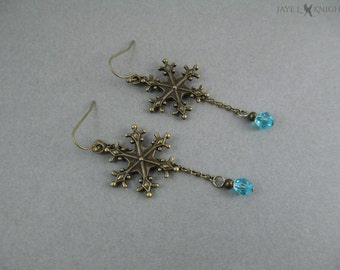 Frozen Snowflake Earrings - Elsa - Bronze Charms