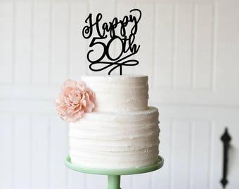 50th Birthday Cake Topper, Happy 50th Birthday Cake Topper, 50th Anniversary Cake Topper, Custom 50th Birthday or Anniversary Topper