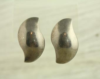 Vintage Mexico Modern Big Bold Sterling Silver Earrings Unique Shape (ET259 )
