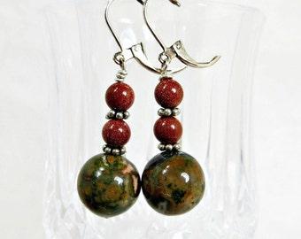 Green Rhyolite and Goldstone Earrings