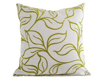 Textured Green Pillow, Chartreuse Pillow, Leaves Pillow, Green Pillow Cover, Green Throw Pillow, Green Cushion, Zipper, 12x18, 18x18, 20x20