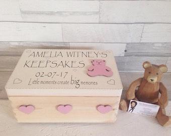 Special baby girl gift, personalised memory box, wooden keepsake chest, baby memento keepsake, new baby gift, baby item storage,
