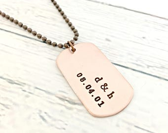 Personalized Copper Dog Tag - Couples Dog Tag Necklace - Custom Hand Stamped Mens Jewelry - Initials, Anniversary Date, Boyfriend V Day Gift