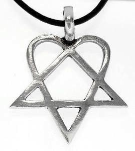 Heartagram pendant him pewter necklace 317 aloadofball Choice Image
