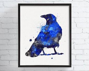 Watercolor Raven Print - Raven Art - Raven Painting - Watercolor Crow Print - Crow Art - Crow Painting, Bird Watercolor Art, Totem Animal,