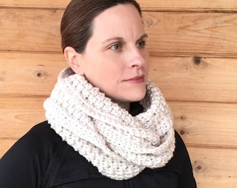 Gift for Her - Chunky Knit Cowl  or Infinity Scarf - Neckwarmer-Headband - Earwarmer - Ivory - Clay - black- gray- Winter - Holiday Gift set