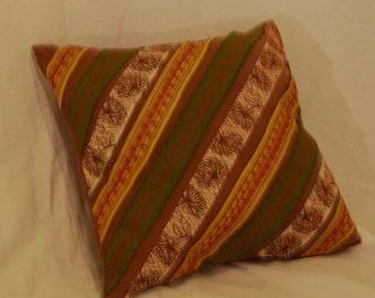 Brown Silk Appliqued Pillow