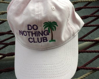 Do Nothing Club Cap- Pink w/Purple Lettering