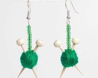 Green Wool and Knitting Needle Earrings - Miniature Ball of Yarn