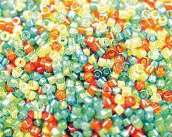 11/0 Miyuki Delica Luminous Mix 6 Citrus Mix Yellow Green Orange Glass Seed Cylinder Beads 7.2 grams DB2066
