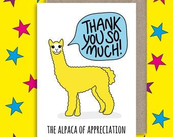 Alpaca of Appreciation Greeting Card ∙ Thank You Card ∙ Thank You For Gift ∙ Thank You ∙ Friendship ∙ Thank You Teacher