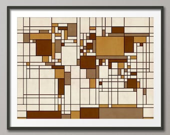 Map of the World Map in the style of Piet Mondrian, Art Print (277)