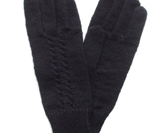 Men's cable knitted lambswool Gloves/mittens/Winter gloves/gray/winter