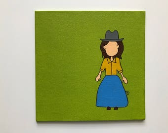 Small Cowgirl Painting, 8x8
