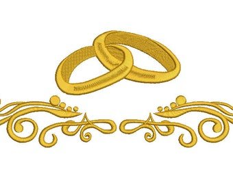 Wedding rings and pattern Machine Embroidery Designs, instantly download