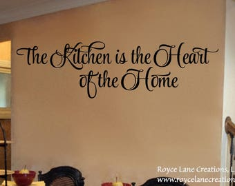 Kitchen Wall Decal- The Kitchen is the Heart of the Home Kitchen Decal- Kitchen Decor Kitchen Wall Decor-Kitchen Wall Decor