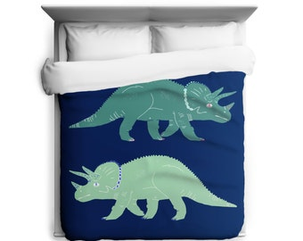 Triceratops Dinosaur Duvet Cover with Blue and Green Printed in USA
