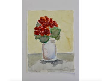 Watercolor, jar of flowers, original painting