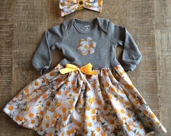 3-6 month dress, daisy dress, 6 month daisy dress, 3-6 month daisy dress, baby girl romper, floral baby dress, baby daisy dress, baby flower