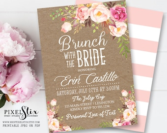 Shabby Chic Brunch with the Bride Invitation, Kraft Paper Vintage Rose Peony Invite, Floral Bridal Brunch, Bridesmaids Luncheon PRINTABLE