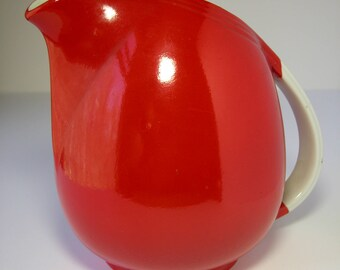 Hall Large Red Art Deco Pitcher