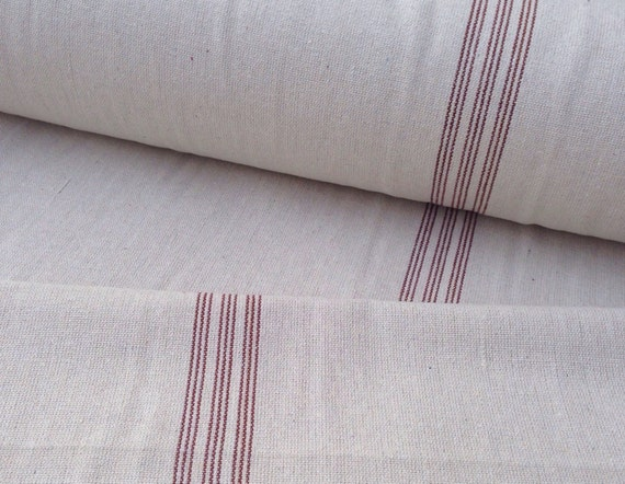 Grain Sack Fabric Red Stripe Vintage Inspired Sold By The Yard