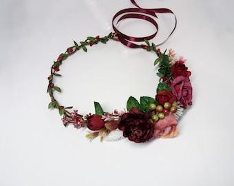Burgundy Dusty Pink Flower crown,Burgundy crown,Floral crown,Wedding flower crown,Flower girl crown,Bridal flower crown,Bridesmaid crown