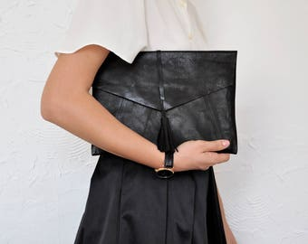 Black Leather Clutch, Clutch Bag, Leather Clutch, Envelope Bag, Leather Handbag, Clutch