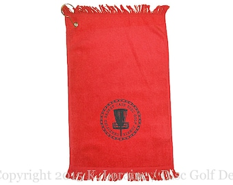 Certified Basket Case Disc Golf Junkie - Small Red Disc Golf Towel - Copyright K. Loraine