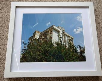 City blocks amongst nature, Mostar, Bosnia - Photographic print in white frame