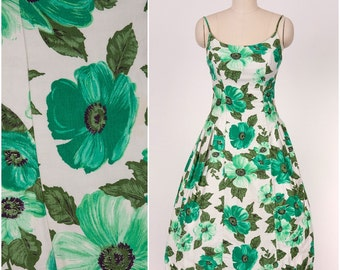 1950's Designer Vintage Bright Green and White Large Scale Floral Print Dress