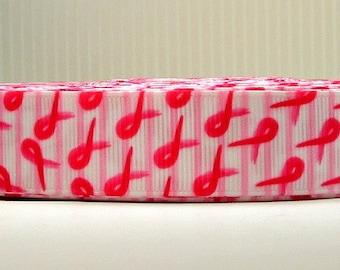 "2 Yards 7/8"" Pink Ribbon Beat Breast Cancer October Print Grosgrain Ribbon"