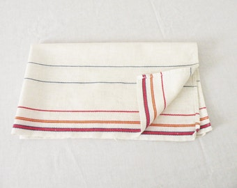 White Linen Vintage Dish Towel With Pin Stripes