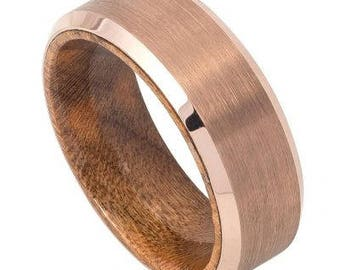 Rose Gold IP Plated Brushed Finish Beveled Edge with African Sapele Mahogany Wood Sleeve/Inner Ring – 8mm