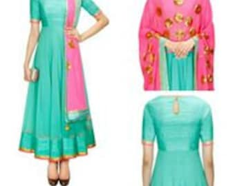 Georgette A Patterned Floor Length Party Wear Top with Handwork Duppatta