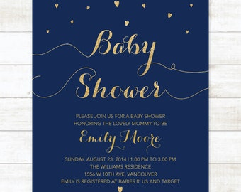 navy gold baby shower invitation navy and gold glitter hearts printable modern chic shower digital invite customizable