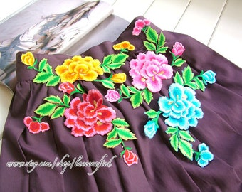 Blue Yellow Pink Peony Flower Lace  three layers embroidery Applique, Embroidery Floral Patch, Iron on Applique Patch For Dress Clothes