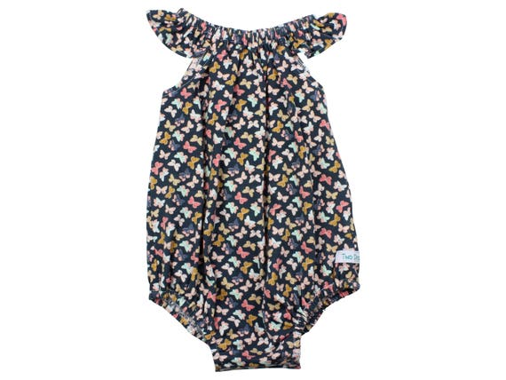 Baby Romper with Snaps Navy Butterflies Baby Romper Summer Floral Romper Modern Romper Flutter Sleeve Romper Knit Romper Little Butterflies