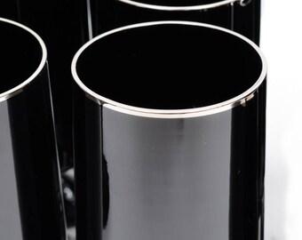 4 Lenox Black Glass Goblets Black Crystal Wine Goblets Platinum Trim Black Glass Barware