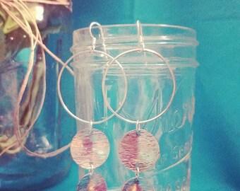 Boho Sterling Silver Hoops * 925 * Circle Dangles * Disc Dangles * Hoop Earrings * Handmade *Boho
