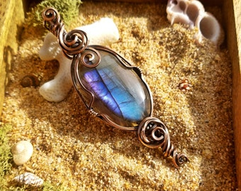 Electric Violet Blue 2 in 1 Reversible/Double Bail Labradorite Crystal Pendant**Read Description**