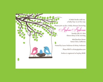 Bird nest baby shower invitation (set of 10)  You choose EGG COLOR